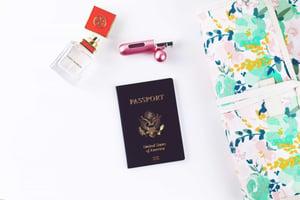 Passport perfume white background