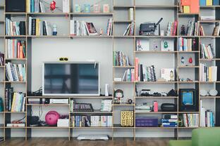TV and library in living room